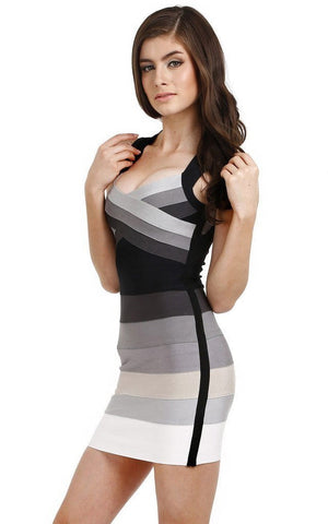 Shades Of Grey & Black Ombre Bandage Dress