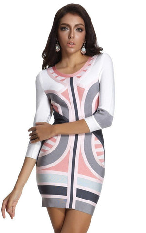Pink & Blue Colorful Bodycon Bandage Dress (S, L)