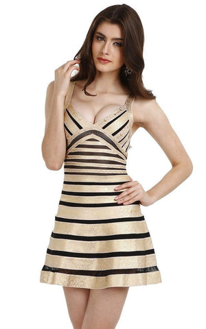 Gold And Black Flared Bandage Dress