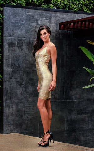 Aurelie Low V Cut Gold Foil Bandage Dress (S, M, L)