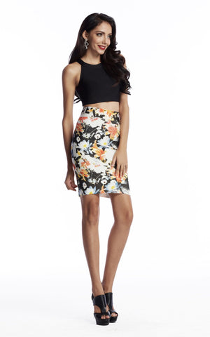 Bandage Floral Skirt & Crop Top Set
