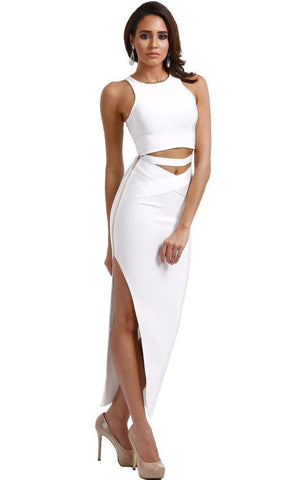 White Bandage Two Piece Maxi Dress (XS, L)