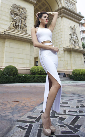 White Bandage Two Piece Maxi Dress