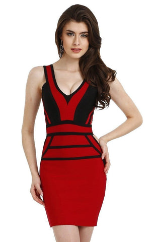 Black & Red Party Cut Out Bandage Dress