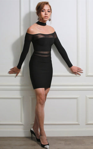 Black Mesh Long Sleeve Bodycon Bandage Dress