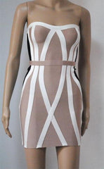 Patterned Strapless Bandage Dress (L)