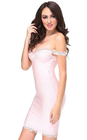 Pink Lace Off Shoulder Bodycon Bandage Dress (XS, S, M, L)