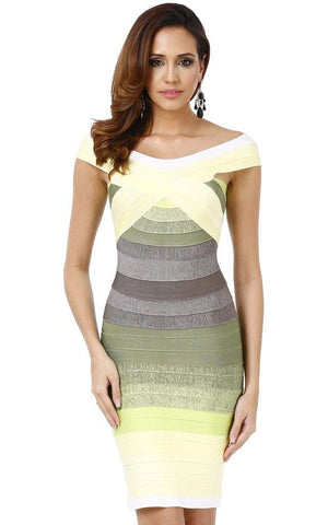 Bandage Grey & Lemon Green Off Shoulder Ombre Dress