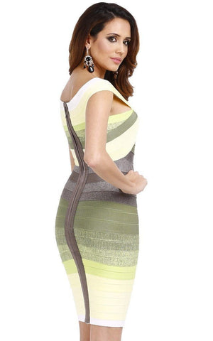 Bandage Lemon Green Off Shoulder Ombre Dress (XS)