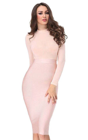 Nude Pink Long Sleeve Mesh Bandage Dress