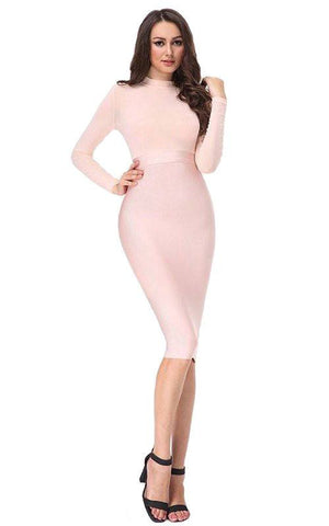 Nude Pink Long Sleeve Mesh Bandage Dress (XS, S, M, L)