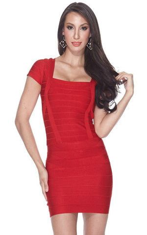Abby Red Square Cut Bandage Dress