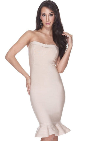 Beige Mermaid Bodycon Bandage Strapless Sheath Dress