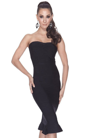 Bandage Bodycon Black Strapless Mermaid Dress