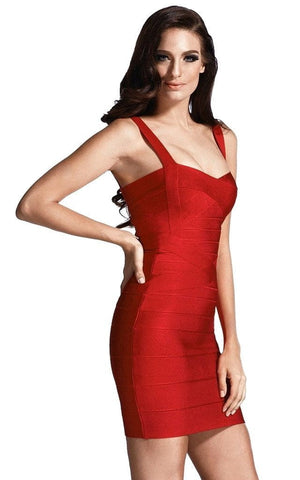 Strawberry Red Bodycon Bandage Dress (XL)