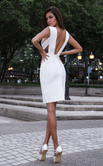 Nova All White Criss Cross Bandage Bodycon Dress  (XS, S, M, L)