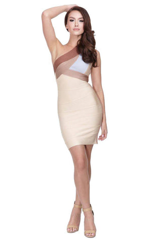 Nude Ombre One Shoulder Bandage Bodycon Dress