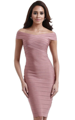 Nude Pink Off Shoulder Midi Bandage Dress