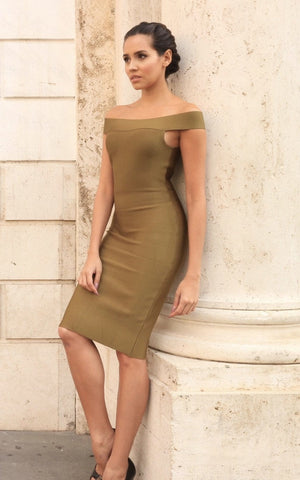 Off Shoulder Olive Green Bodycon Dress