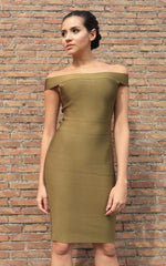 Off Shoulder Olive Green Bandage Bodycon Dress (XS)