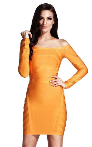 Bandage Off Shoulder Long Sleeve Orange Dress