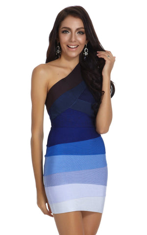 Odeta Blue Ombre One Shoulder Bandage Dress (XS)