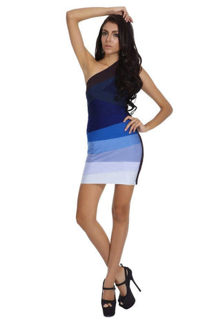Odeta Blue Ombre One Shoulder Bandage Dress (M, L)