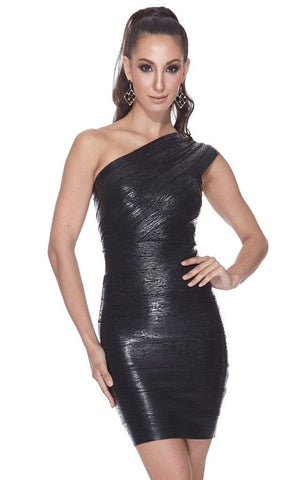 Adria Metallic Bandage One Shoulder Black Dress ( S, L)