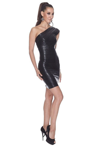 Adria Metallic Bandage One Shoulder Black Dress ( L)