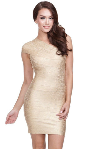 Aurum Metallic Gold One Shoulder Bandage Dress (XS)