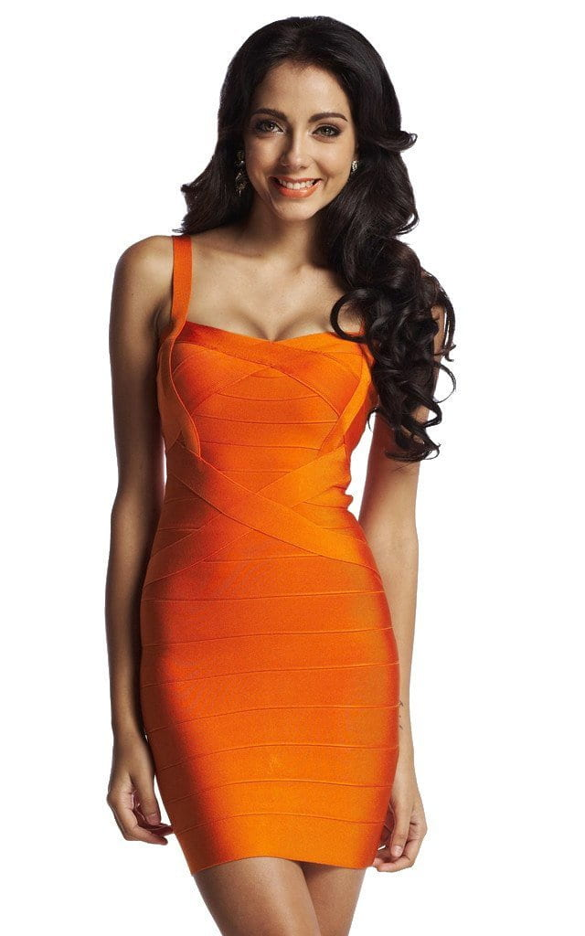 Orange Simple One Color Bandage Dress | The Kewl Shop