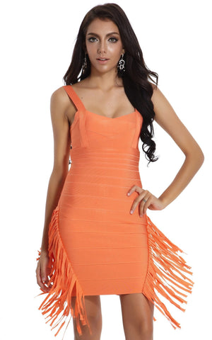 Orange Tassel Bandage Dress (S)
