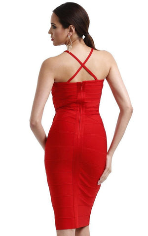 Passionate Red Criss Cross V-Neck Midi Bandage Dress