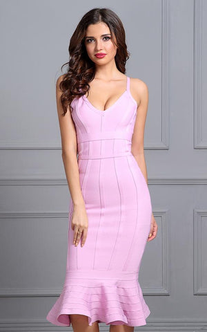 Peony Pink Mermaid Flared Bandage Dress