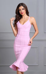 Peony Pink Mermaid Flared Bandage Dress (XS, S, M, L)