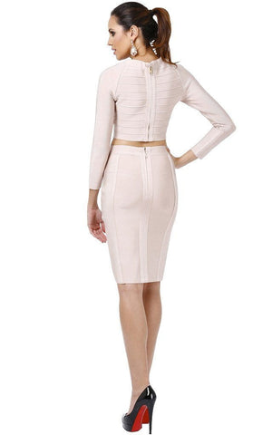 Short Bandage Two Piece Nude Dress