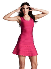 Pink Sweety Flared Bandage Dress