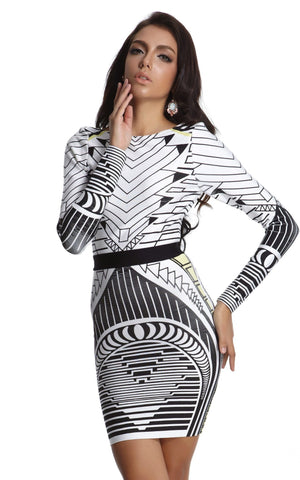 Printed Geometric Bandage Dress