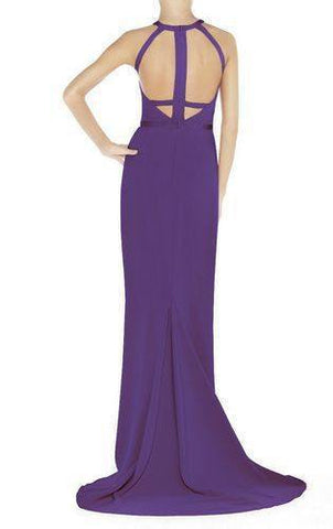 Purple Maxi Gown Bandage Dress