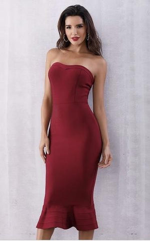 Red Mermaid Bandage Strapless Sheath Dress