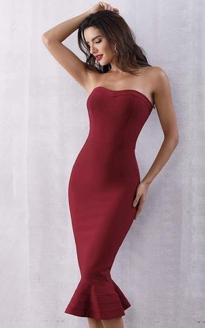 Red Mermaid Bandage Strapless Sheath Dress (XS, S, M, L)