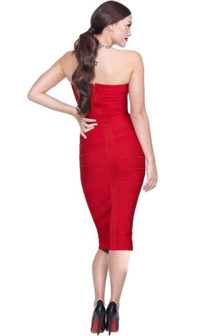 Victoria Bandage Red Strapless Bodycon Dress (XS, S, M, L)