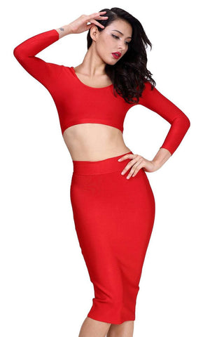 Red Two Piece Long Sleeve Bandage Dress