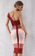 Rosy Red One Shoulder Gradient Bandage Dress (All Sizes)