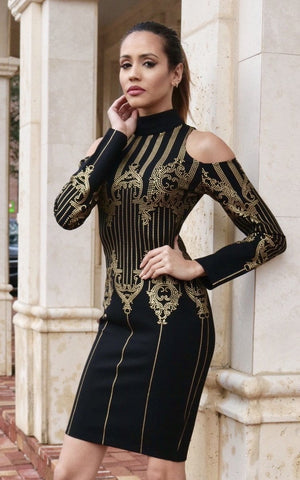 Royal Gold Bandage Dress