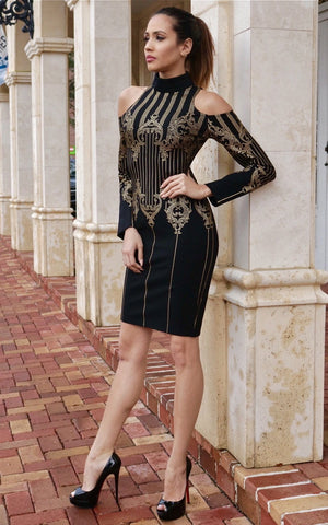 Royal Black & Gold Cut Out Long Sleeve Bandage Dress