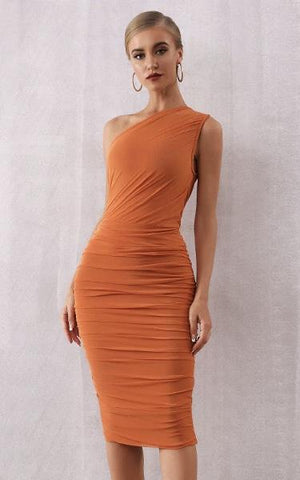Rust Orange One Shoulder Bandage Bodycon Dress (XS, S, M, L)