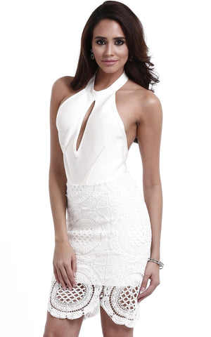 Arabella White Lace Bodycon Bandage Dress (L)
