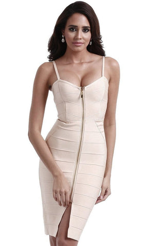 Nude Bandage Full Front Zipper Dress (XS)