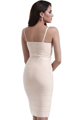 Nude Bandage Full Front Zipper Dress